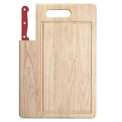 Essentials 2-Piece Wooden Cutting Board with Santoku Knife