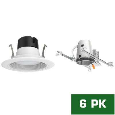 4 in. LED Recessed New Construction Housing with Standard Retrofit White LED Trim Kit, 5000K (6-Pack)