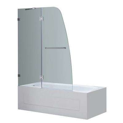 Soleil 48 in. x 58 in. Completely Frameless Hinge Tub Door in Stainless Steel with Clear Glass