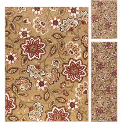 Majesty Beige 5 ft. x 7 ft. 3-Piece Rug Set