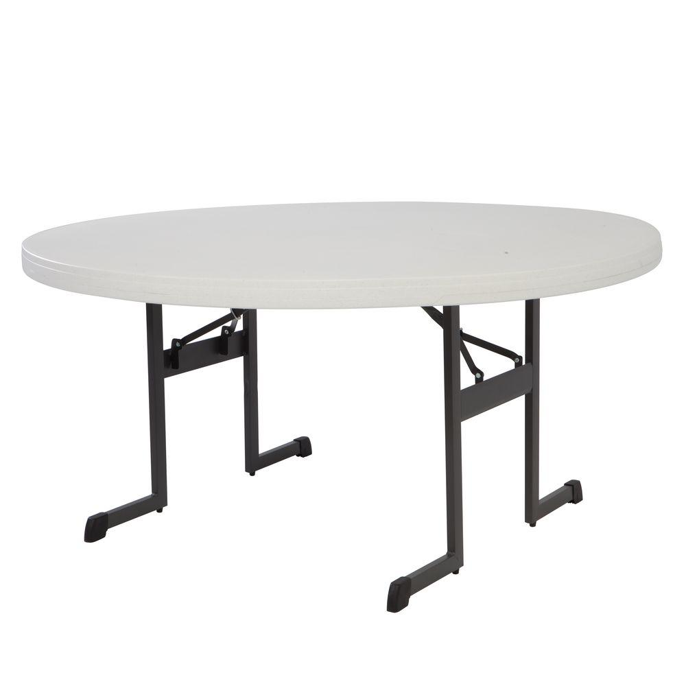 Lifetime 60 In Almond Plastic Folding Banquet Table Set Of 12