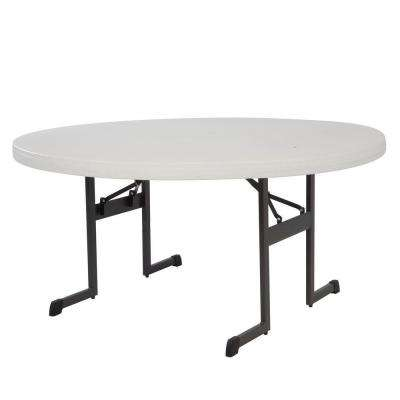 60 in. Almond Plastic Folding Banquet Table (Set of 12)