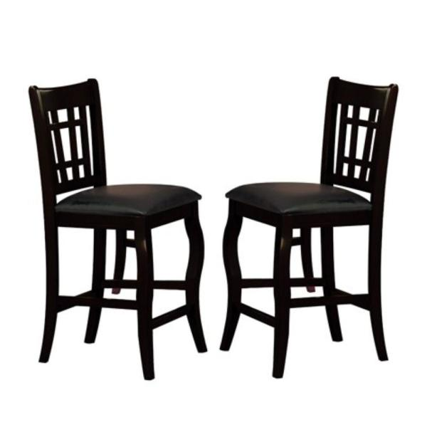 42 in. H Black Wooden Counter Height Chair with Designer Back (Set of 2)