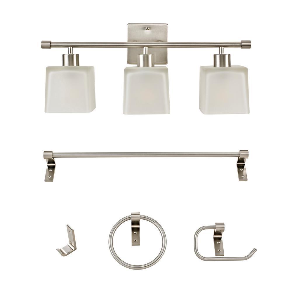 Marone Brushed Nickel Vanity Light All-In-One Bath Set (5-Piece)