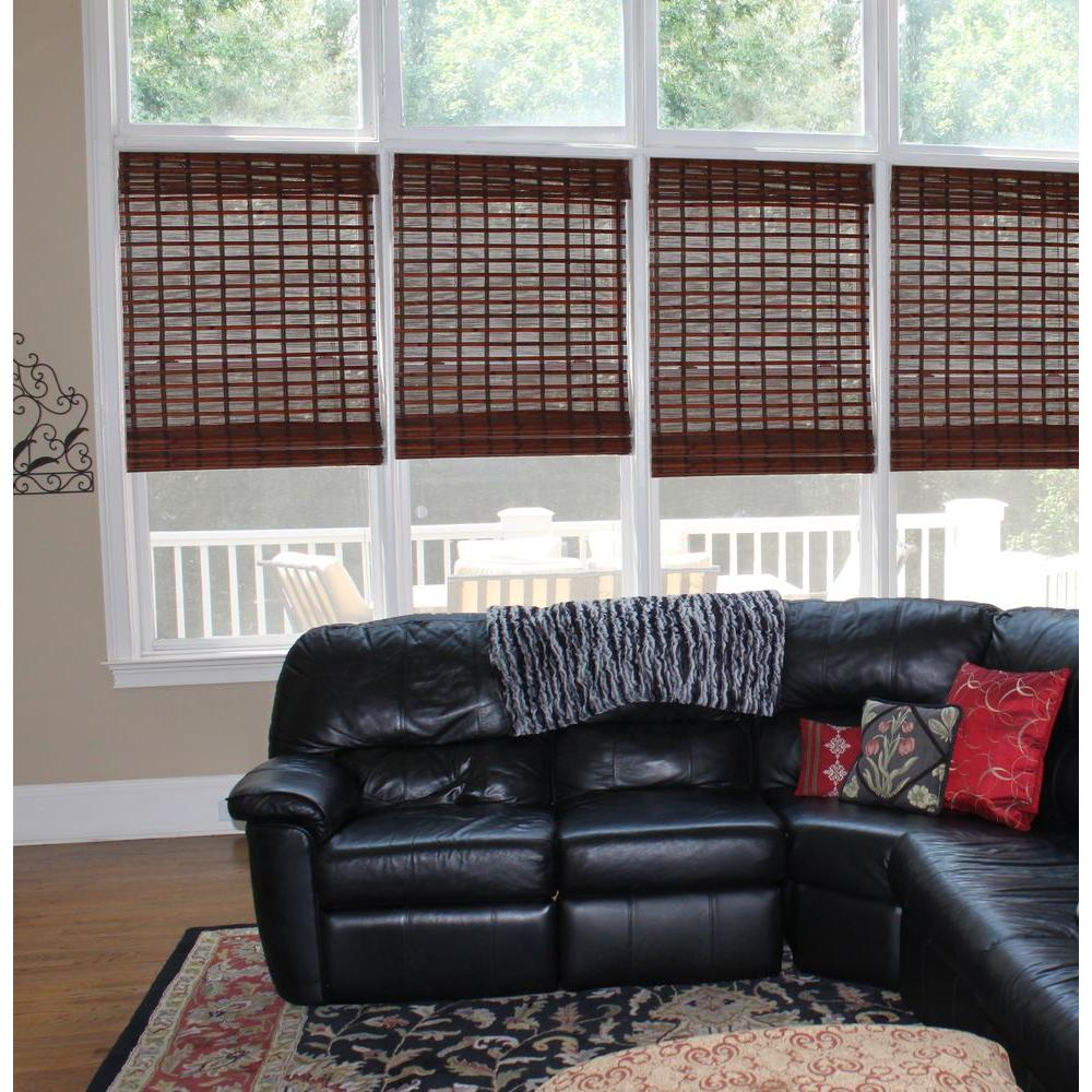 designview Mahogany Palisades Bamboo Roman Shade - 36 in. W x 72 in. L