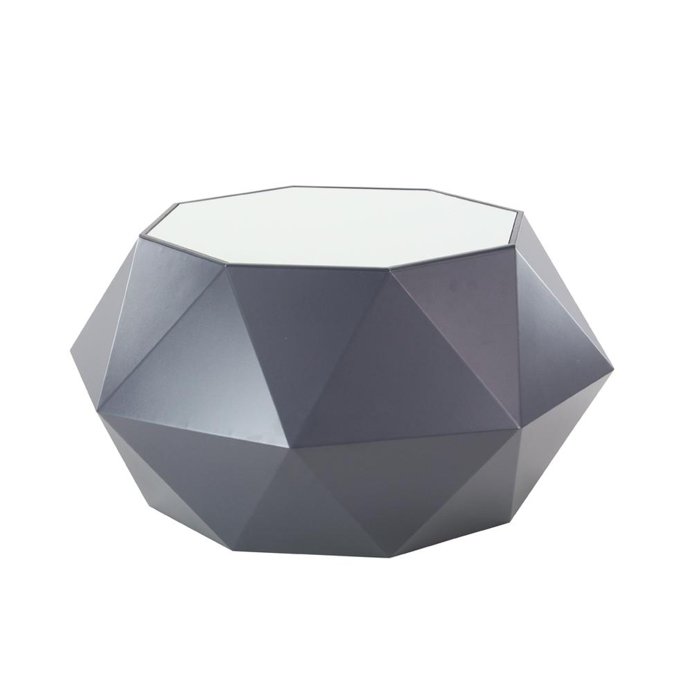 19 in. x 35 in. Black Multi-Faceted Accent Table with White