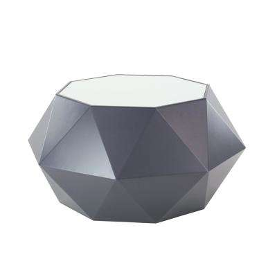 19 in. x 35 in. Black Multi-Faceted Accent Table with White Tabletop