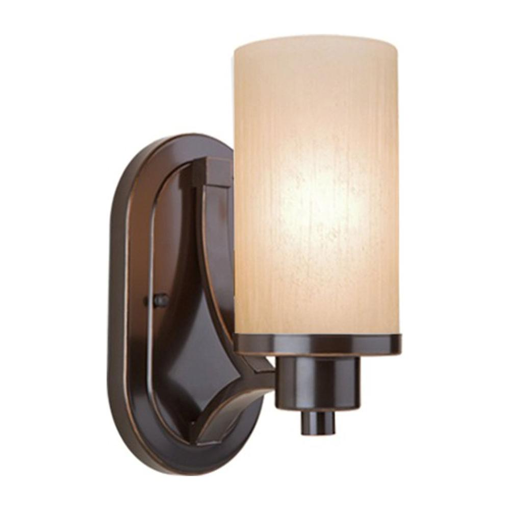 ARTCRAFT Parkdale 1-Light Oil Rubbed Bronze Sconce Parkdale 1 lite bathroom vanity features its clean and simple design complimented with amber glassware in rubbed oiled bronze finish