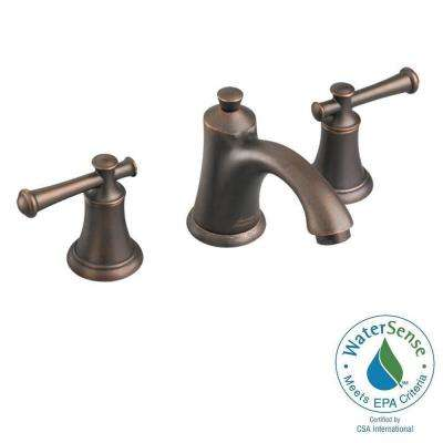 8 in. Widespread 2-Handle Mid-Arc Bathroom Faucet in Oil Rubbed Bronze with Speed Connect Drain and Lever Handles