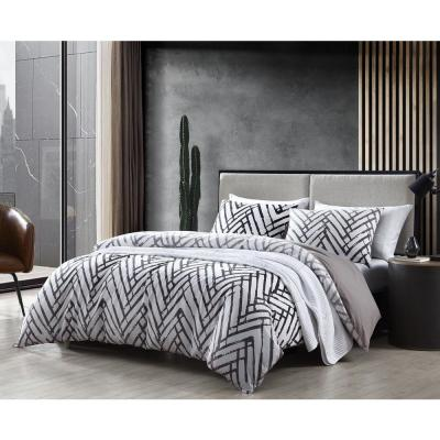 Balta 3-Piece Brown Geometric T20 Cotton Full/Queen Duvet Cover Set