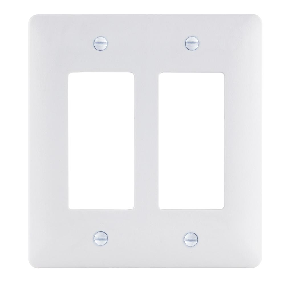Commercial Electric 2-Gang Decorator Plastic Wall Plate White Textured  sc 1 st  Home Depot & Commercial Electric 2-Gang Decorator Plastic Wall Plate White ...