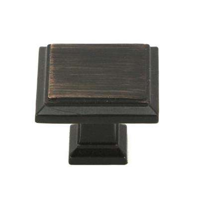 ROMA  Solid Square 1-1/4 in. (32 mm) Dia Oil Rubbed Bronze  Cabinet Knob (25-Pack)