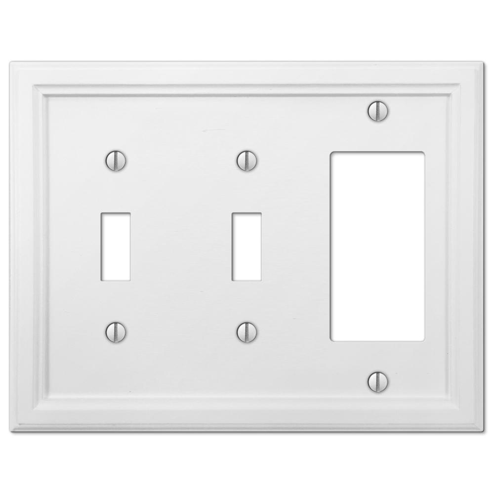 Amerelle Elly 2 Toggle 1 Decora Wall Plate White 4052ttrw