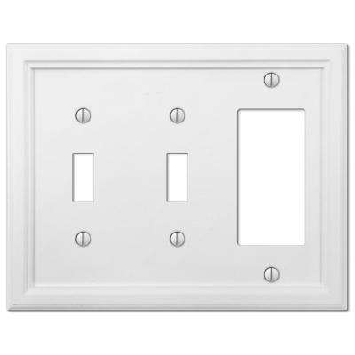 Elly 3 Gang 2-Toggle and 1-Rocker Composite Wall Plate - White