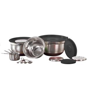 Click here to buy  17-Piece Mixing Bowl Set With Lids, Grater, Measuring Cups and Spoons.