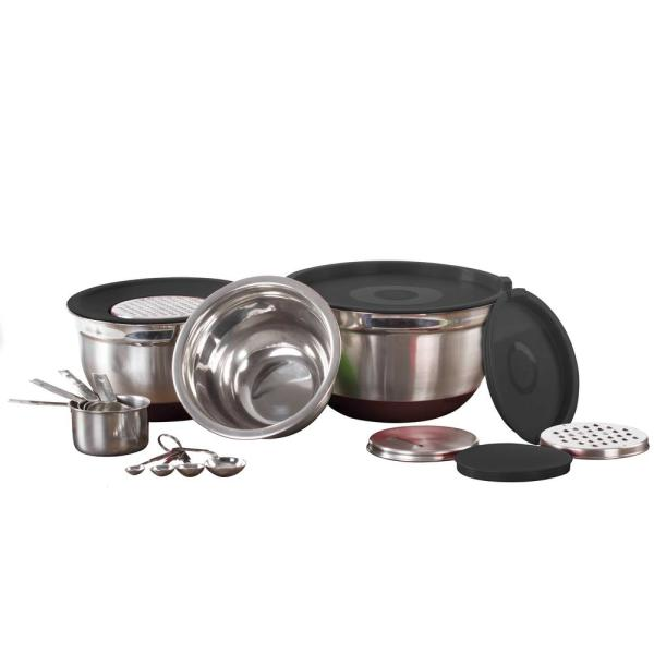 17-Piece Mixing Bowl Set With Lids, Grater, Measuring Cups and Spoons