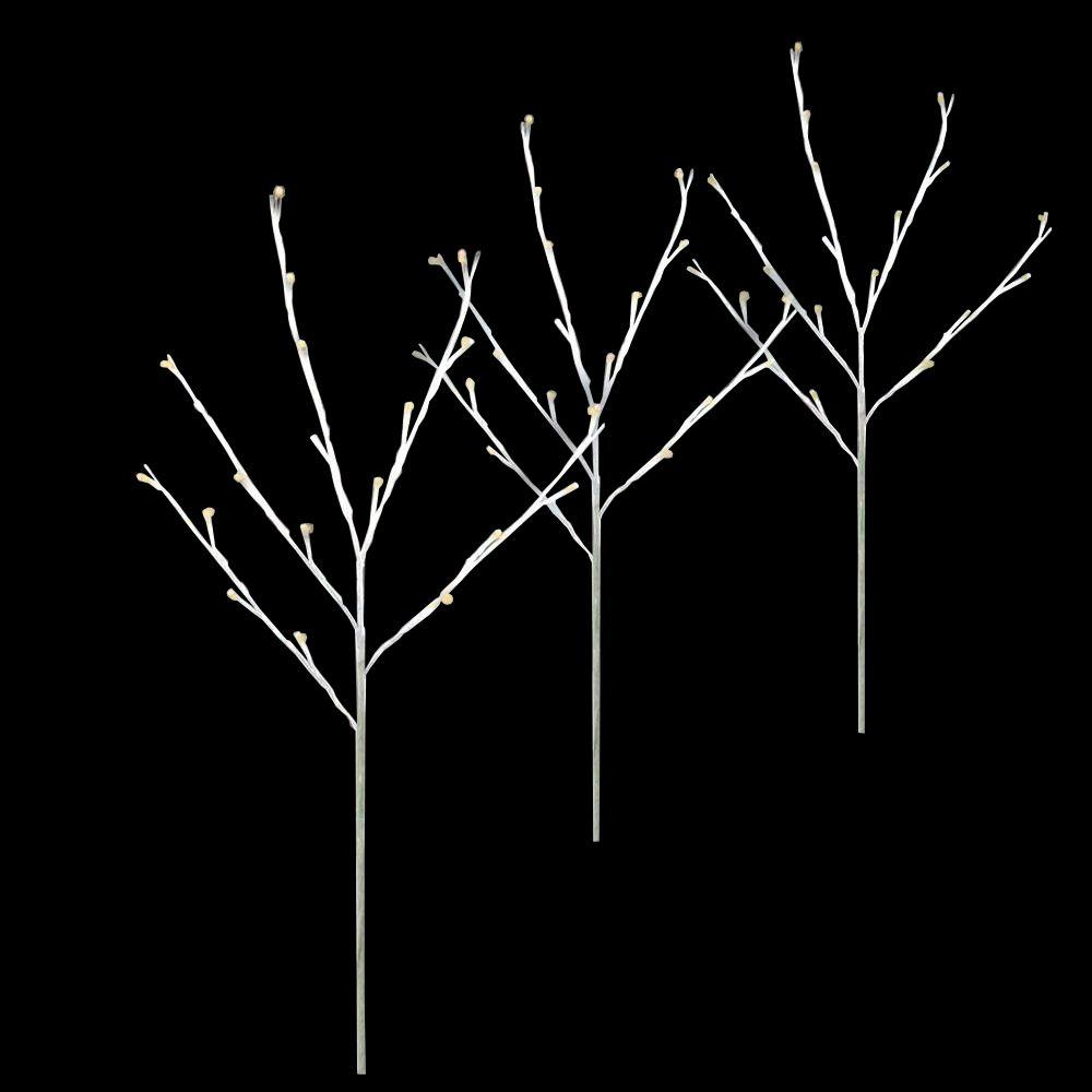 Twig Tree Warm White Pathmarkers (Set Of 3)-46-392-00