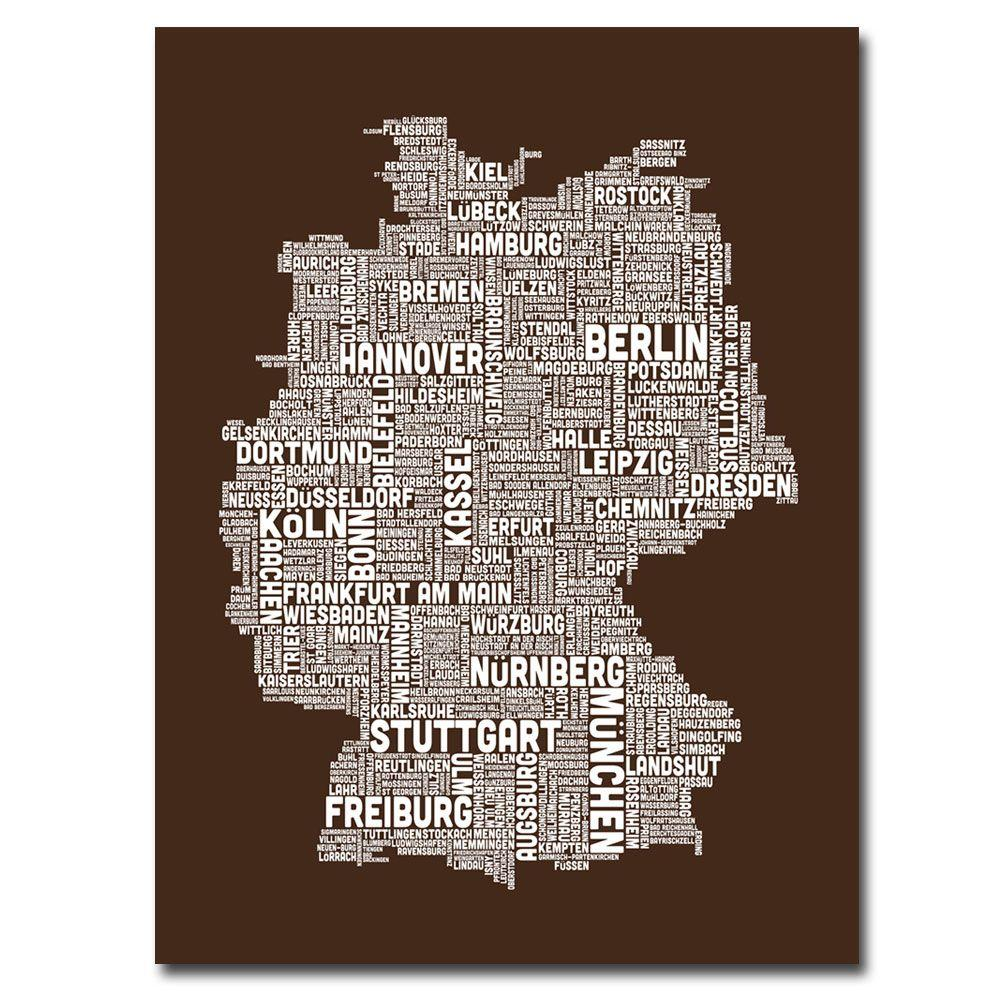 Trademark Fine Art 47 in. x 35 in. Germany Text Map II Canvas Art