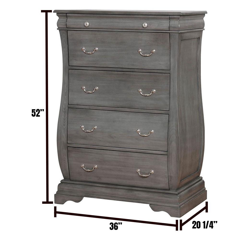 Brunswick 5-Drawers Gray Transitional Style Chest