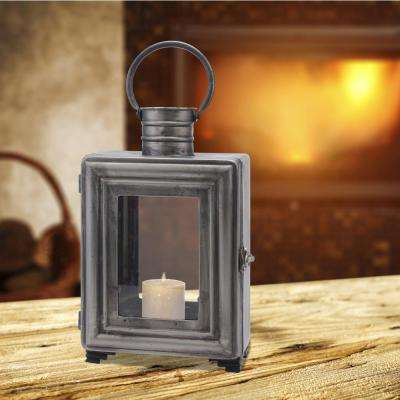 15 in. Pewter Metal Industrial Candle Holder