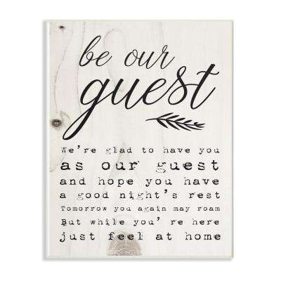"""13 in. x 19 in. """"Be Our Guest Poem Cursive"""" by Daphne Polselli Wood Wall Art"""