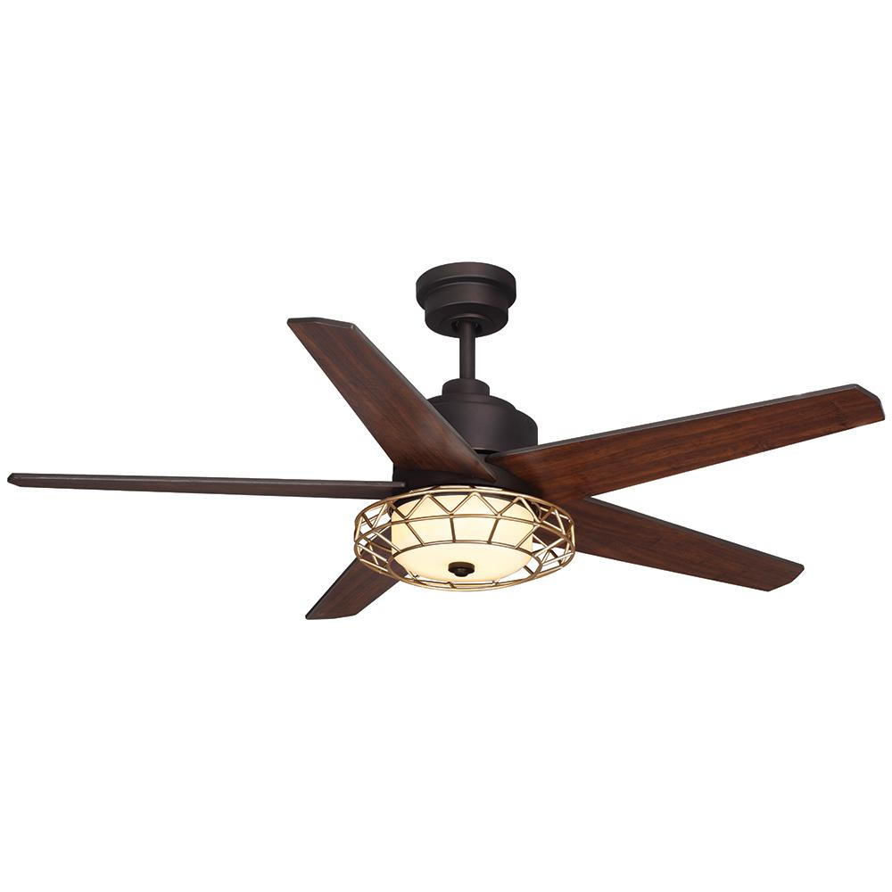 Home Decorators Collection Ellard 52 In Led Indoor Oil Rubbed Bronze Ceiling Fan With Light Kit