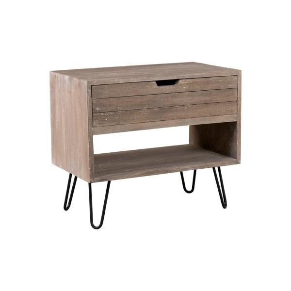 Ocilla 24 in. Brown Mindi Wood Accent Table