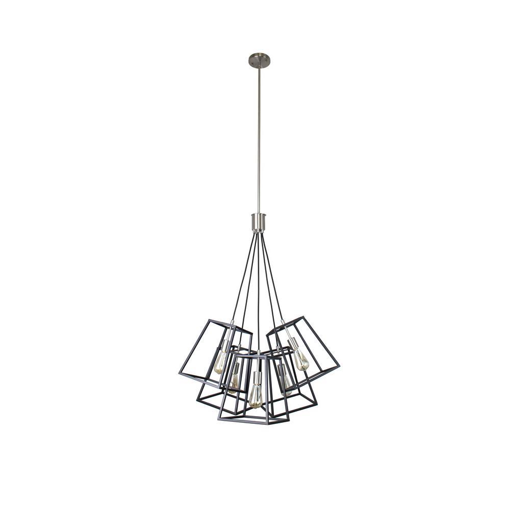 Sarah Collection 5-Light Black and Satin Nickel Pendant
