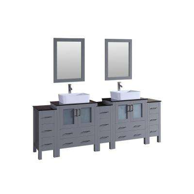 Bosconi 96 in. Double Vanity in Gray with Vanity Top in Black with White Basin and Mirror