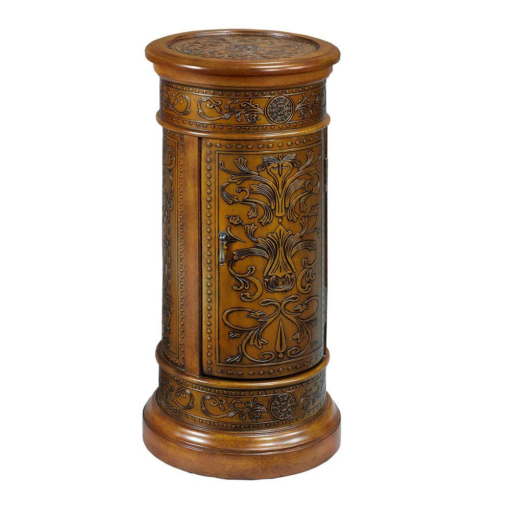 Home Decorators Collection 30 in. H x 14 in. D Antique Oak Royal Round Pedestal