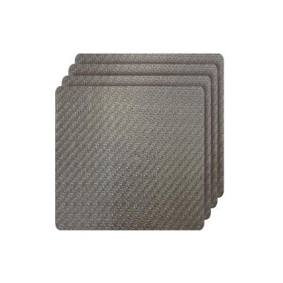 Cambria Bronze Metallic Faux Leather Square Placemats (Set of 4)
