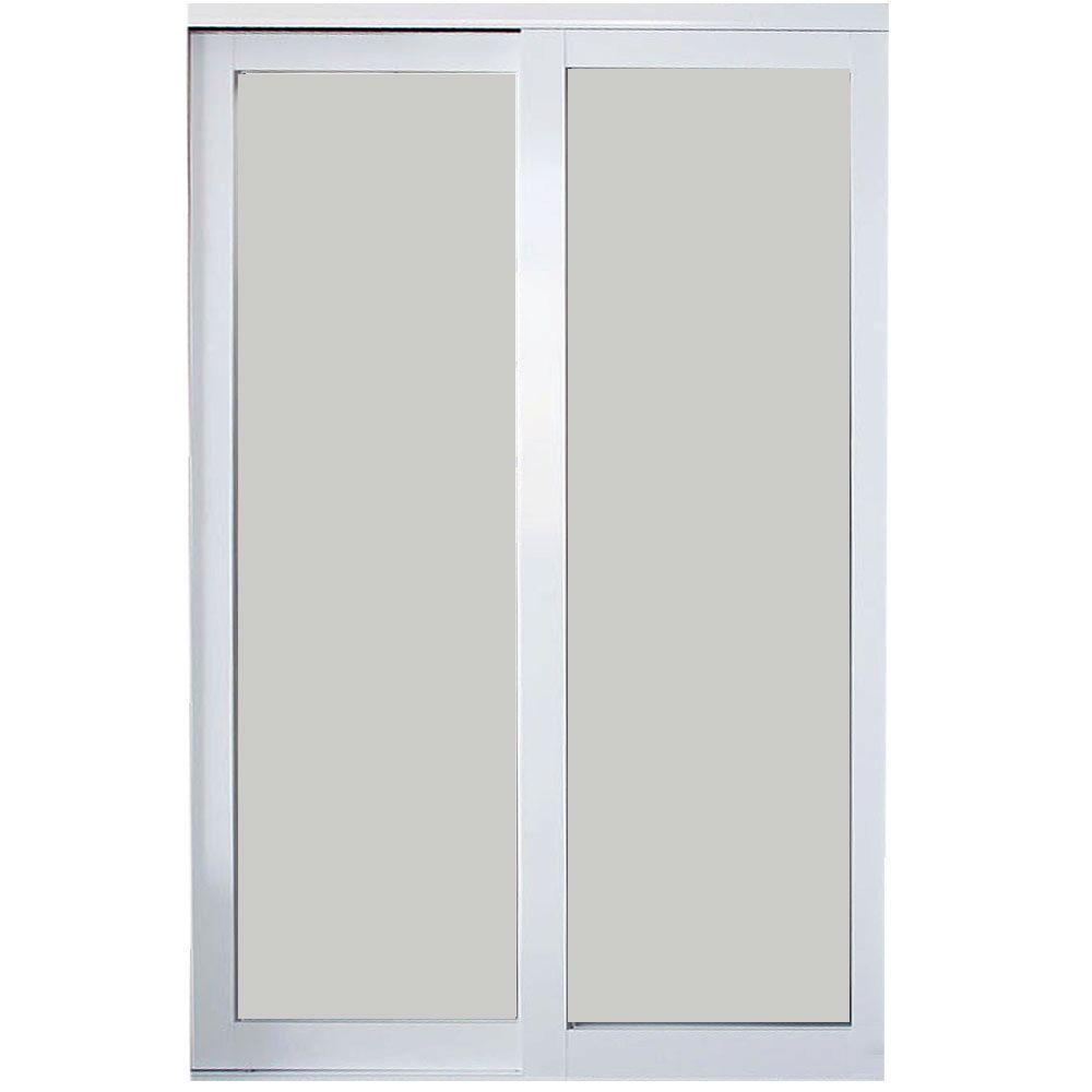 72 in. x 81 in. Eclipse White Finish Mystique Glass Aluminum