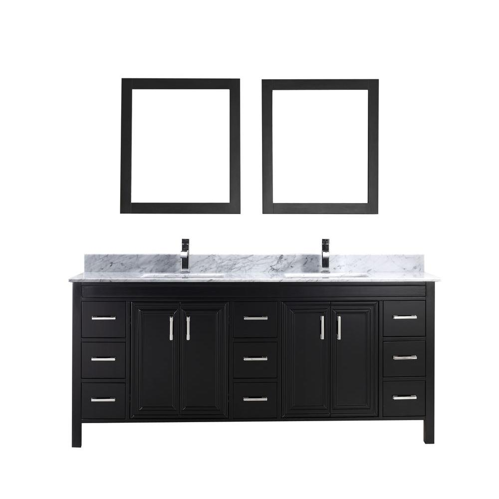 Dawlish 75 in. Vanity in Espresso with Marble Vanity Top in