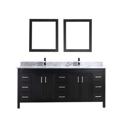 Dawlish 75 in. Vanity in Espresso with Marble Vanity Top in Carrara White and Mirror