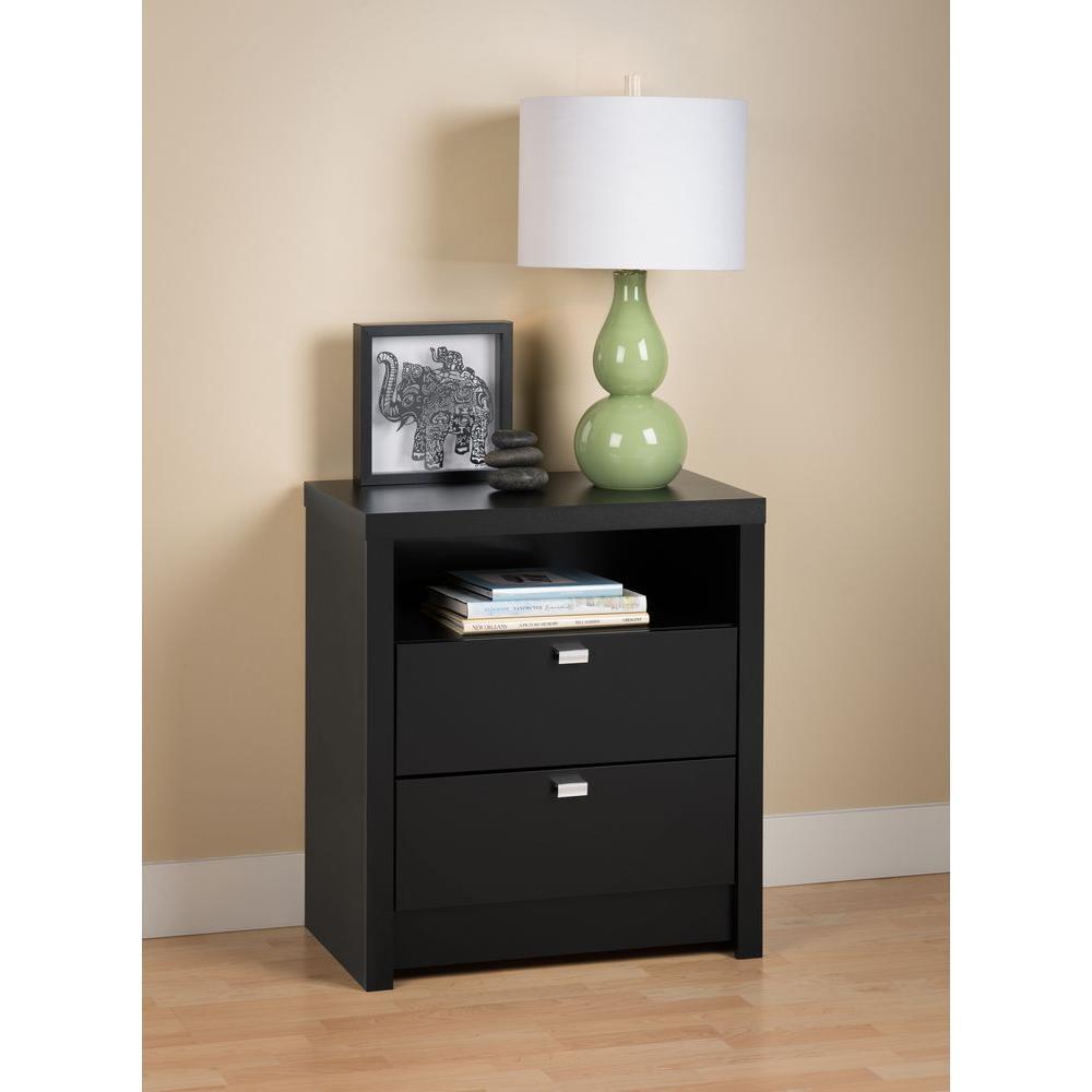 series 9 2drawer black nightstand