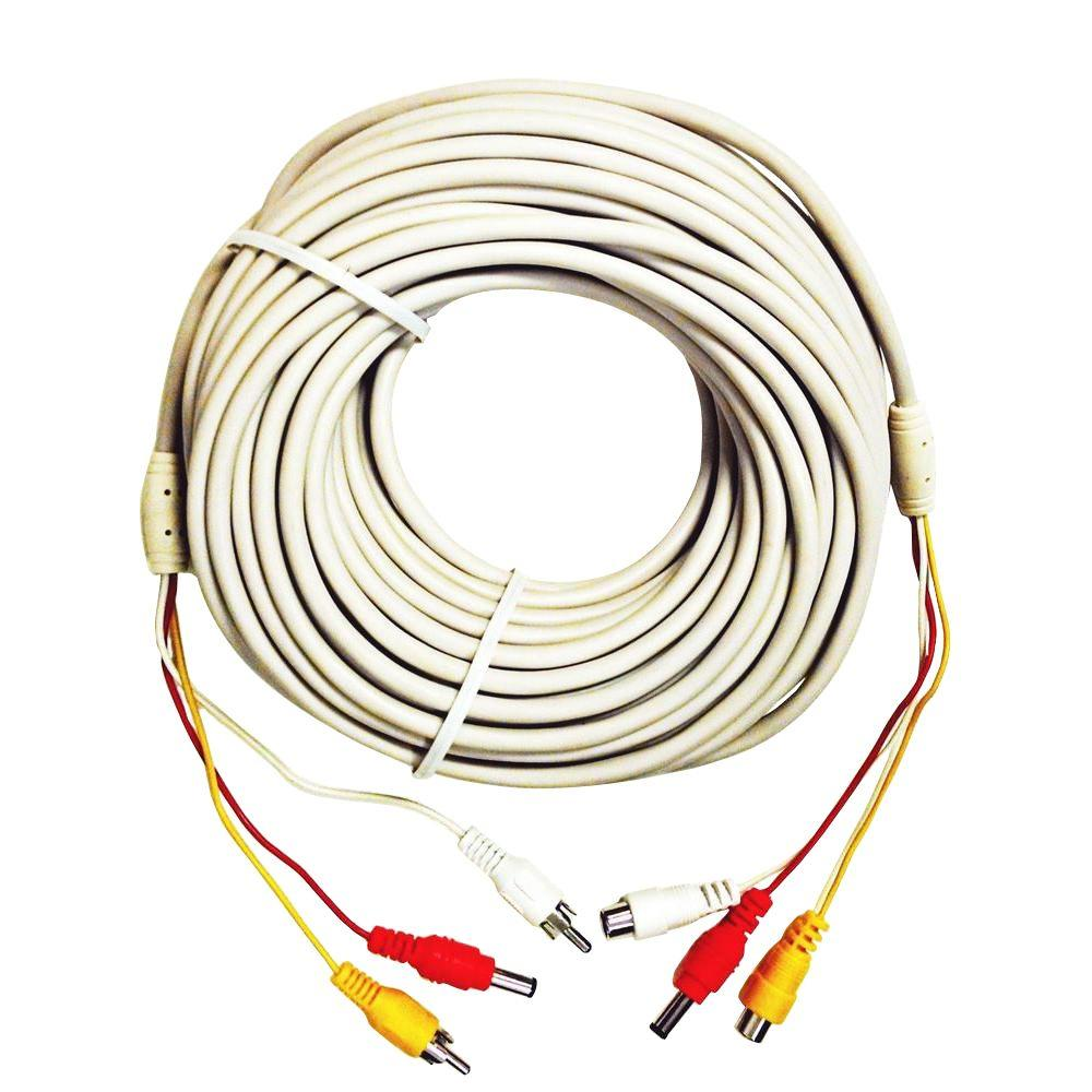 Spt 100 Ft Premade Premium Siamese Power Video And Audio Cable Home Installation Wiring White
