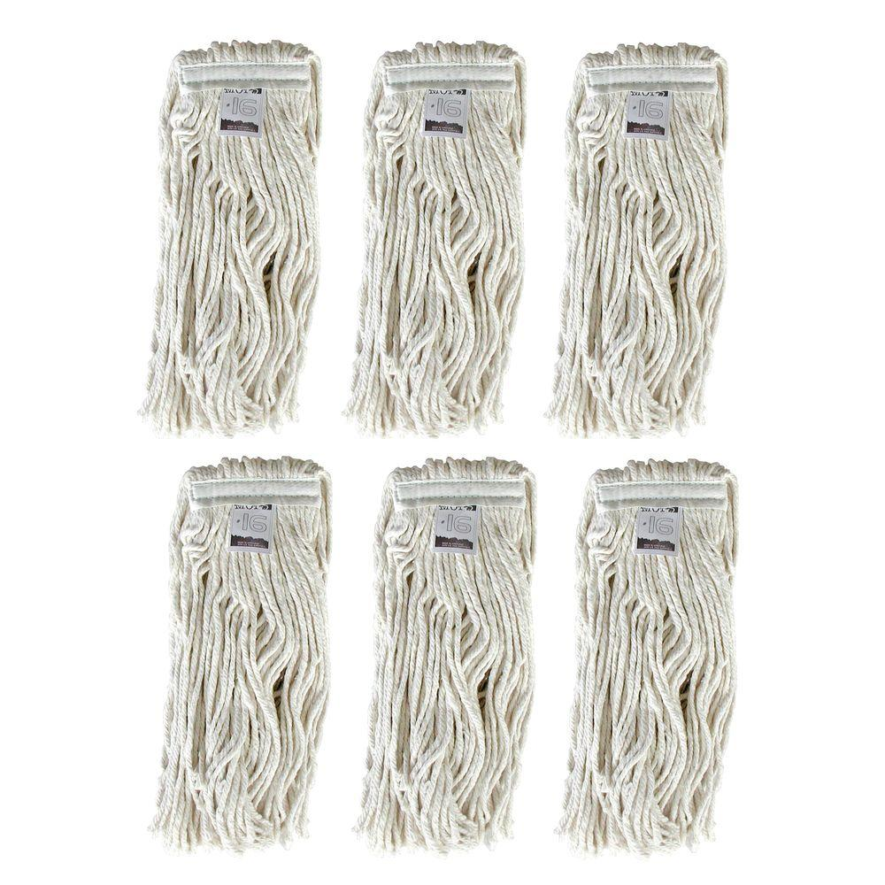 Ti-Dee American #16, 4-Ply Cotton Mop Head with Cut-Ends (6-Pack)