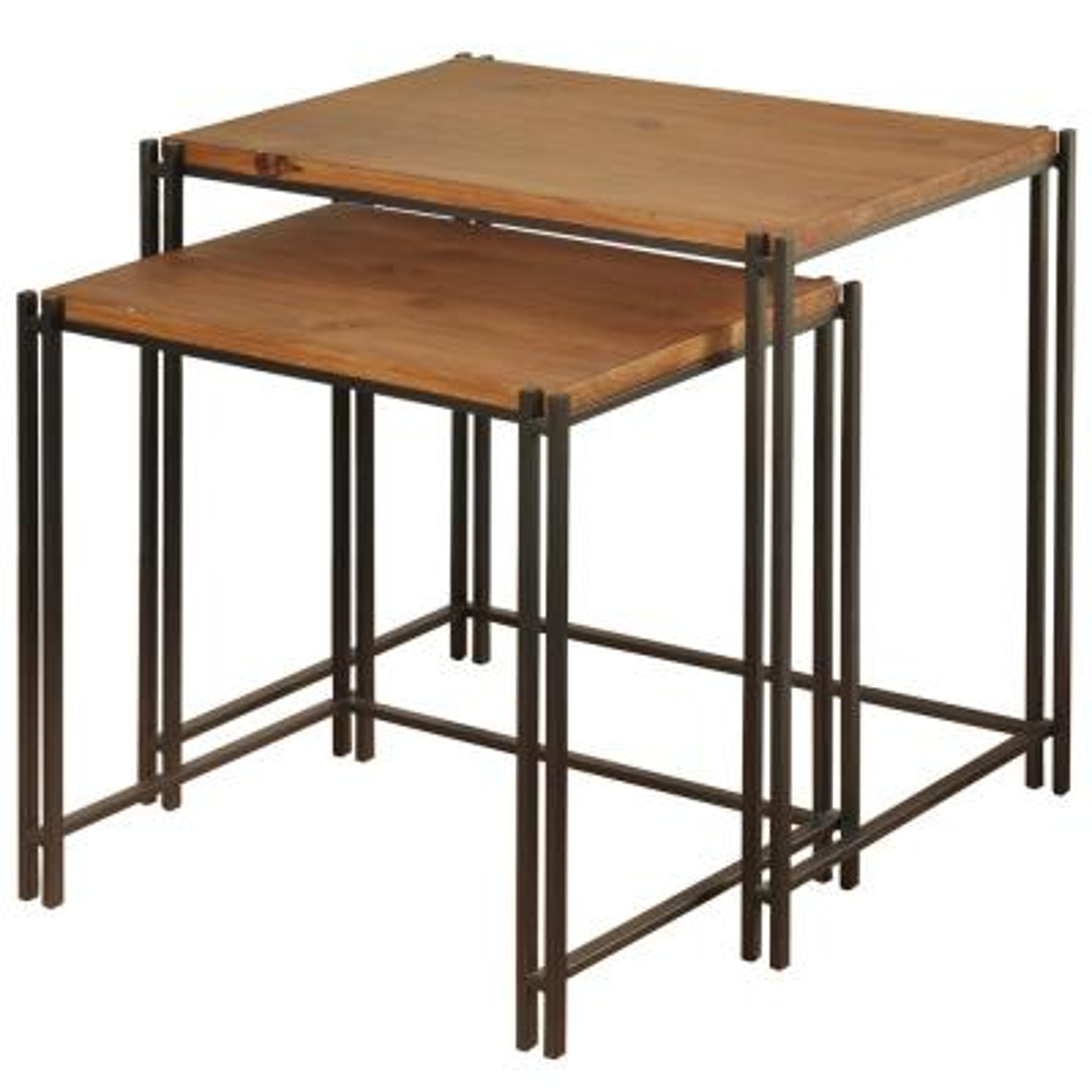 Medium Wood Cherry Top Black Powder Coat Base Nesting Tables (2-Piece)