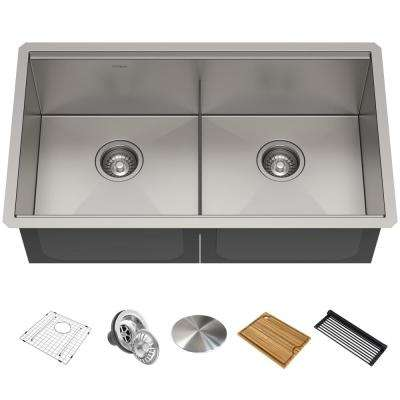 Kore Workstation 33 in. Stainless Steel Undermount Double Bowl Kitchen Sink w/ Integrated Ledge and Accessories