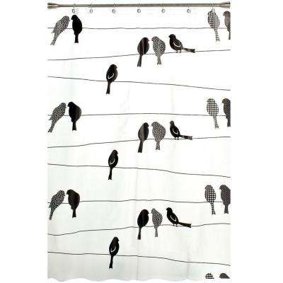 Birds on a Wire 70 in. W x 72 in. L PEVA Shower Curtain