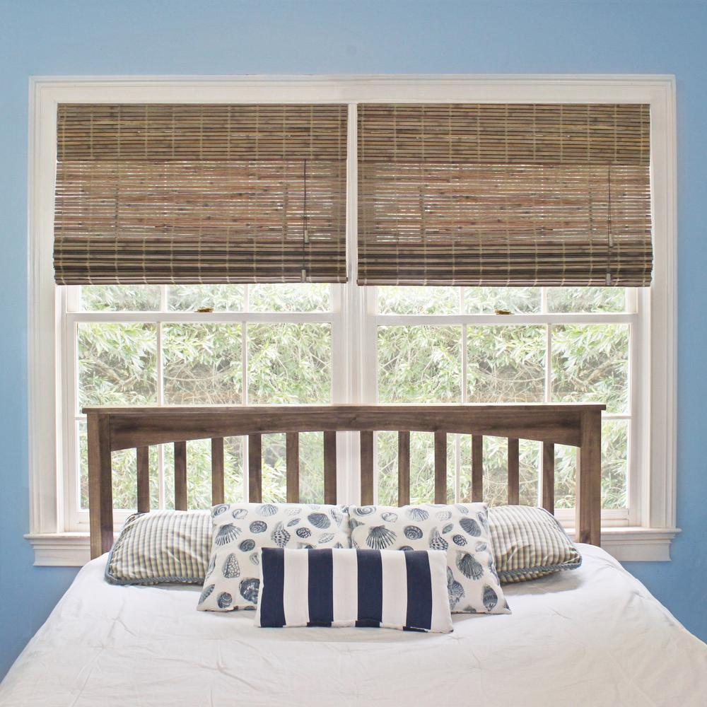 Home Decorators Collection 34.5 in. W x 72 in. L Driftwood Flatweave Bamboo Roman Shade