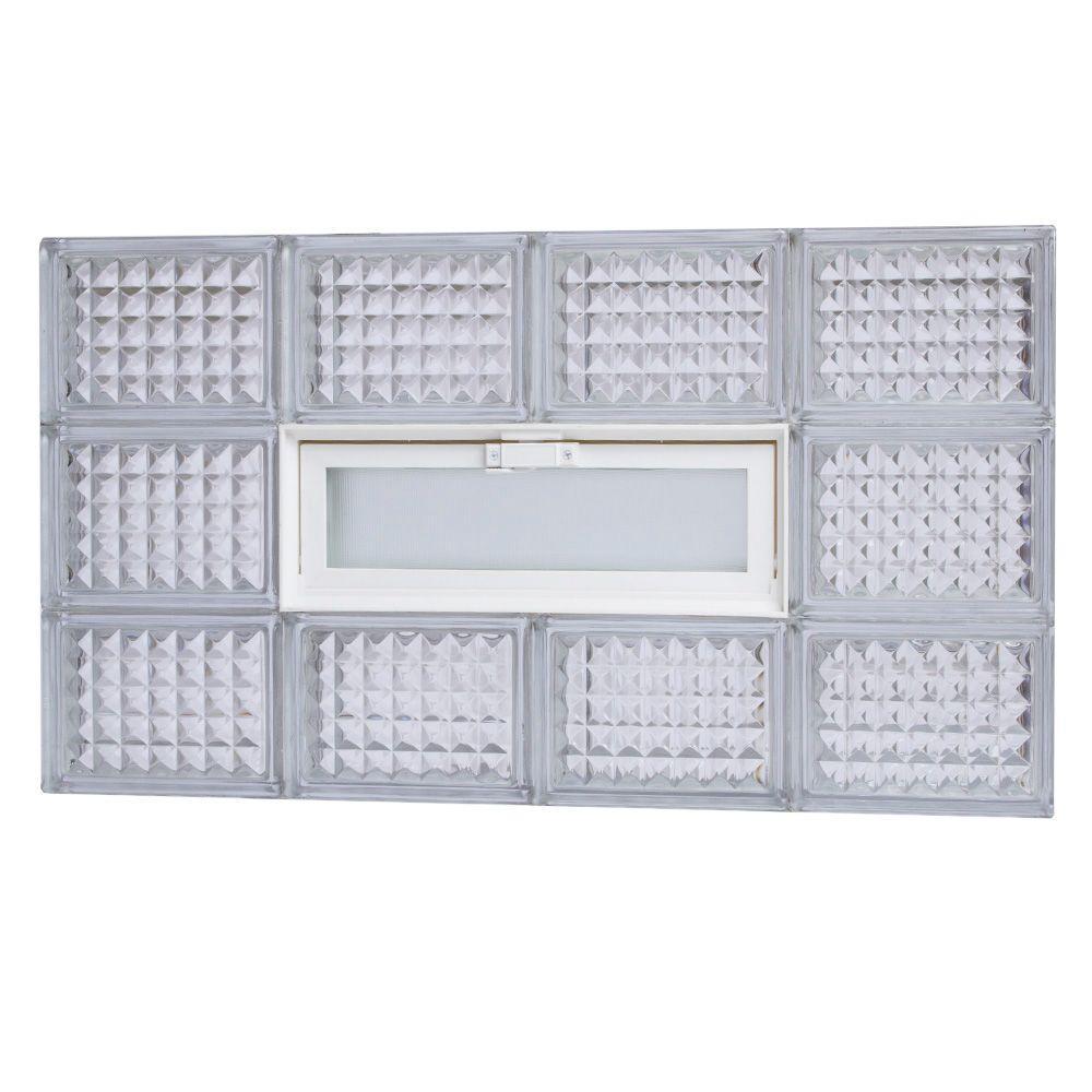 TAFCO WINDOWS 31 in. x 17.25 in. Diamond Pattern Glass Block Window