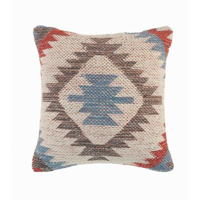 Country Red Blue Gray Southwest Cozy Poly-Fill 18 in. x 18 in. Throw Pillow
