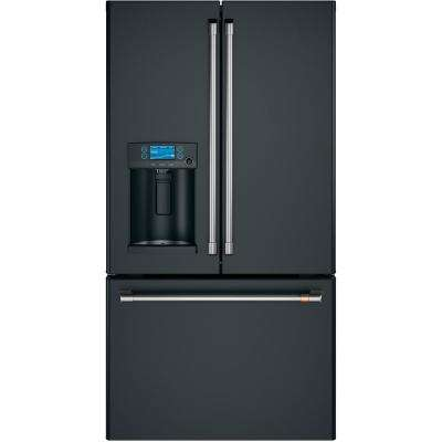22 2 cu  ft  French Door Refrigerator with Hot Water Dispenser in Matte  Black, Counter Depth and Fingerprint Resistant