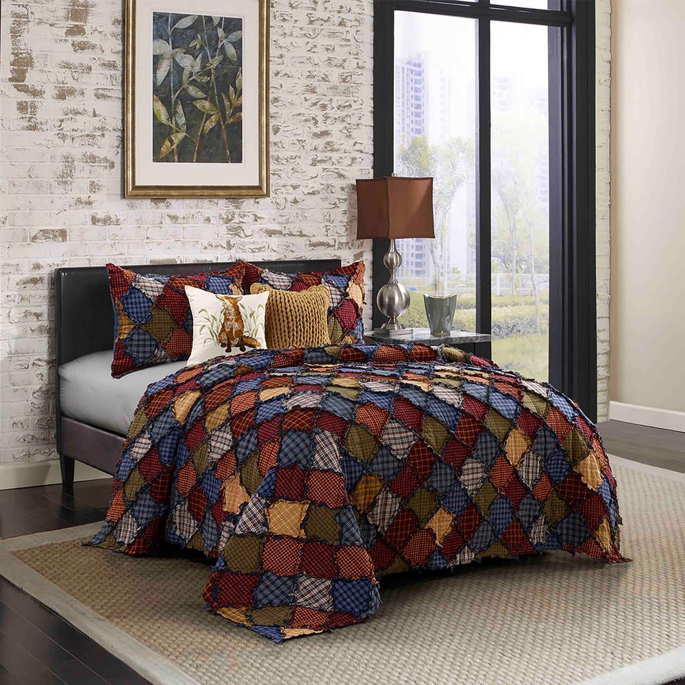 Blue Ridge Blue Cotton Queen Quilt Set (3-Piece)