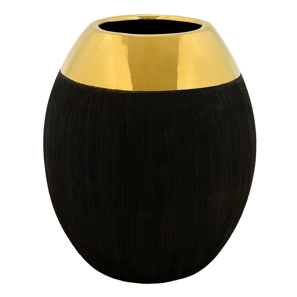 12 in. Black Ceramic Decorative Vase