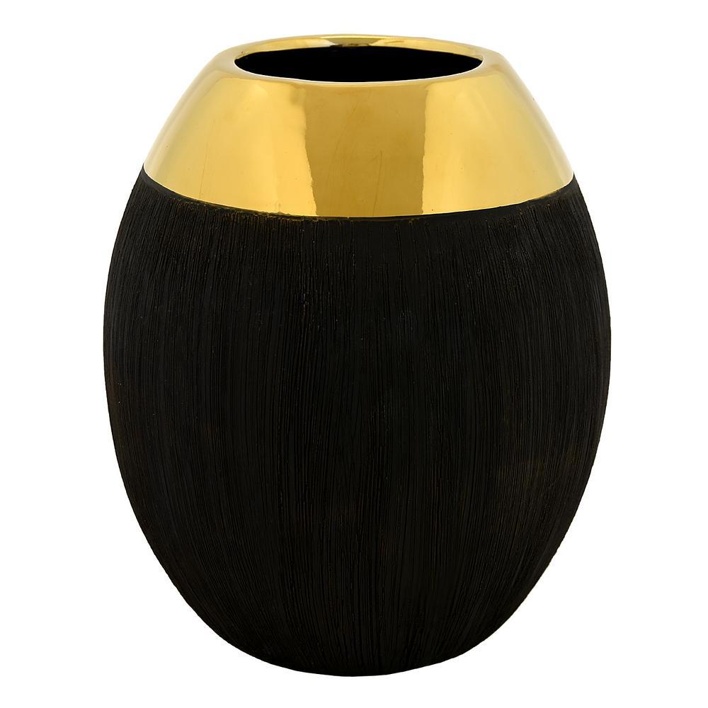 12 in. Black Ceramic Decorative Vase