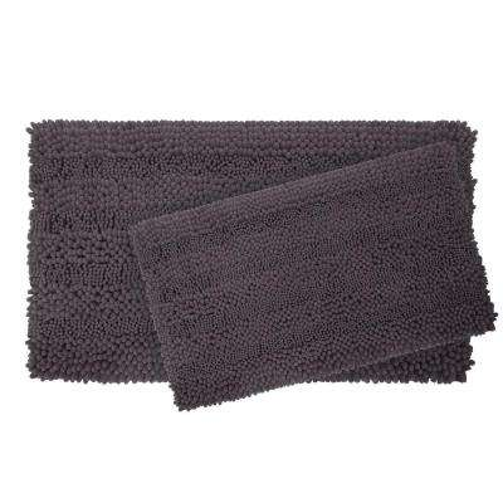 Astor Striped Chenille 17 in. x 24 in./ 20 in. x 34 in. 2-Piece Plush Bath Mat Set in Dark Grey