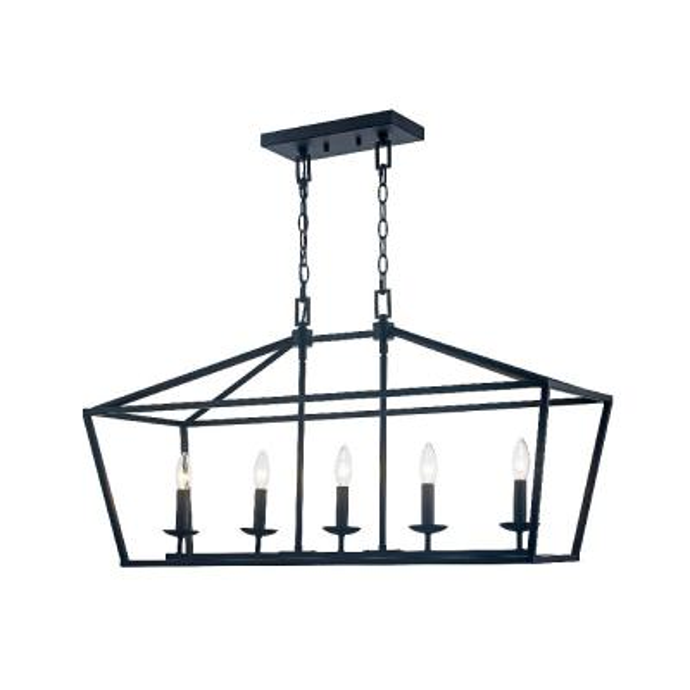Caged 5-Light Bronze Chandelier