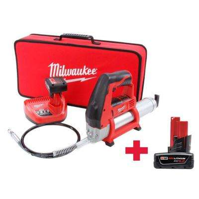 M12 12-Volt Lithium-Ion Cordless Grease Gun Kit W/ Free M12 6.0Ah Battery